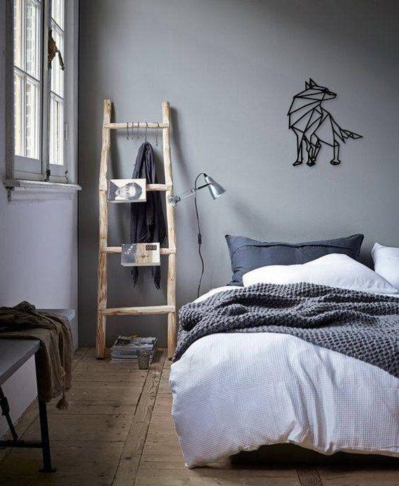 Metal Wall Art Geometric Wolf Animal steel Home Decor Interior Sign Scandi style Gift Idea Housewarm