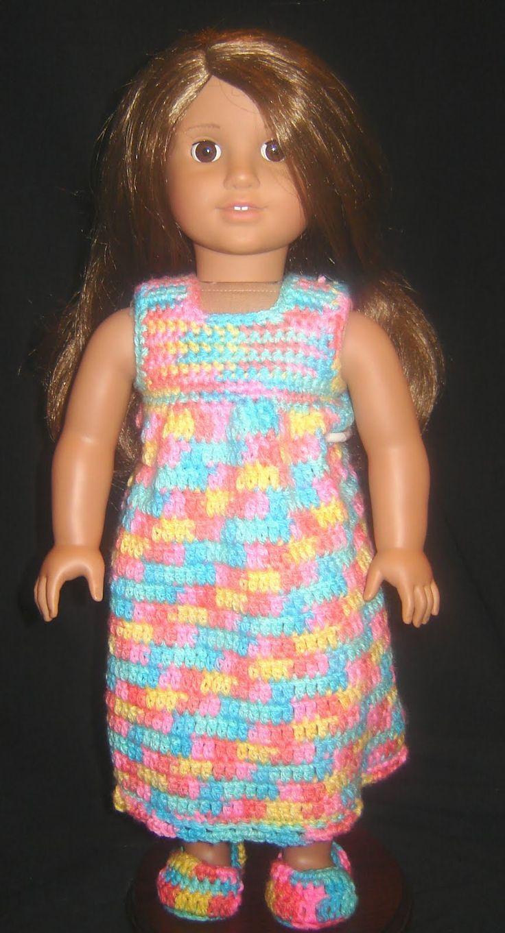 "Bizzy Crochet: Nightie, Robe & Slippers - 18"" Doll Clothes Pattern"