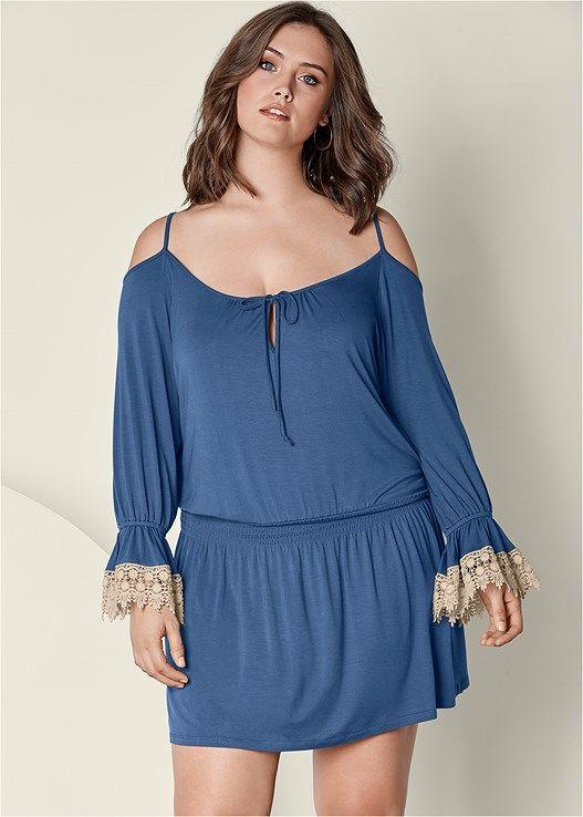 79882040631 Venus Women s Plus Size Cold Shoulder Dress - Blue white