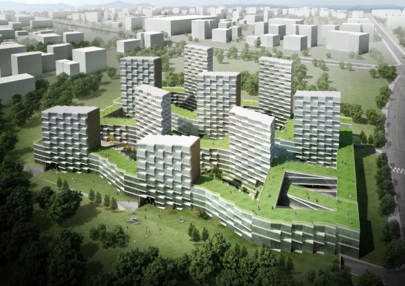 Nueve torres residenciales de uso mixto pronto se levantarán en Suizhong, China.