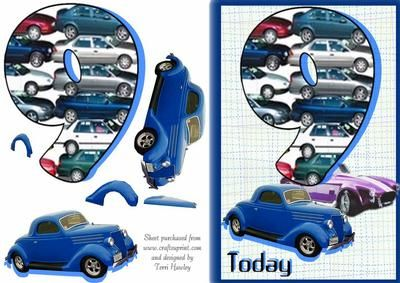 A card for a young boy turning 9, with cars on old and new, what boy does not like cars.  Fits A5 envelope finished