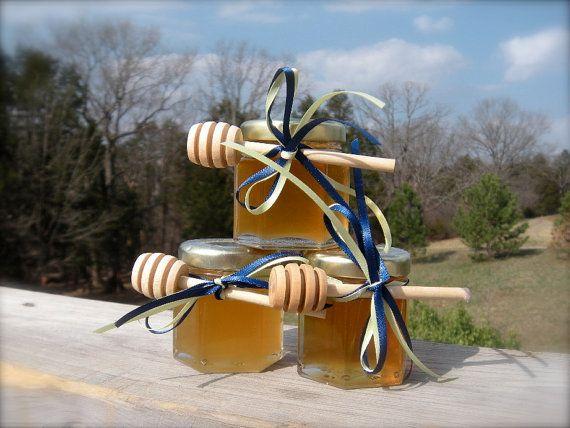 Honey Wedding Favors Mint Green, Bridal Shower Bomboniere, Mini Honey Jar Favors, 30 Jars Filled With 2013 Honey via Etsy
