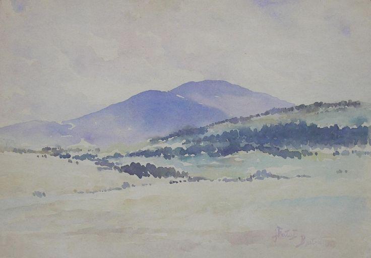 Julian FAŁAT ,Zimowy pejzaż z Bystrej, 1918 , akwarela, papier, 27,5 x 35,5 cm w świetle passe-partou