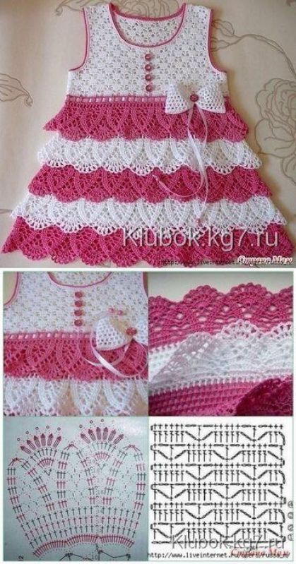 5eab1702a Patrones gráficos de vestidos para bebés en crochet | Girls dresses ...