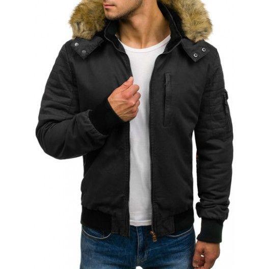 Pánská bunda na zimu s krátkým střihem černé barvy - manozo.cz