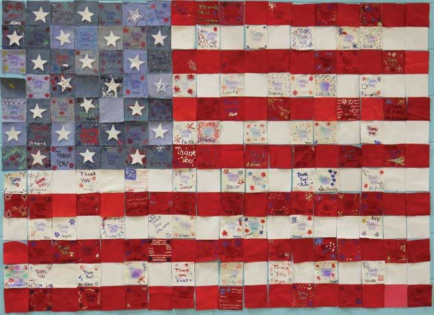 I designed a Veteran's Day project in which each student decorated a red, white, or blue square with a thank you note. Each square formed part of a flag which was printed it as a postcard. The Veterans of Foreign Wars kindly provided the addresses of the local veterans, who received the postcards along with a thank you note from the students. This project was reported in the Chicago Tribune (Trib Local Aurora) as well as the Aurora Beacon News.