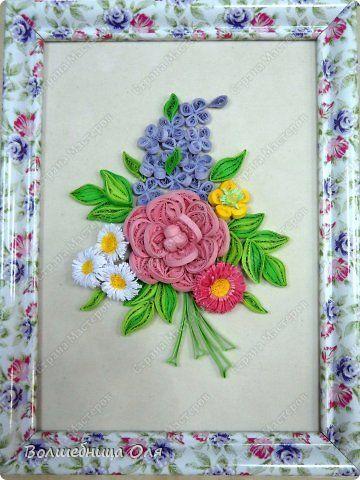 Картина панно рисунок Квиллинг Еще немного цветов Бумага фото 2