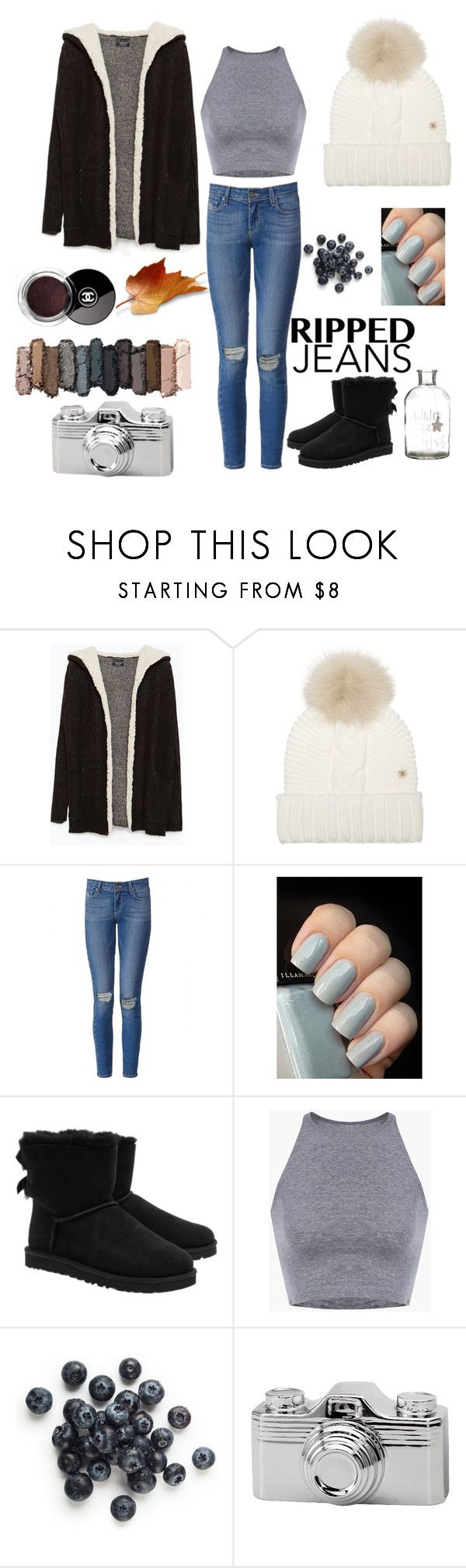 """Ripped Jeans "" by mayadella ❤ liked on Polyvore featuring Zara, Woolrich, Paige Denim, UGG Australia, Chanel, Torre & Tagus, Urban Decay, women's clothing, women and female"
