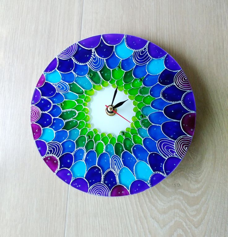 Mermaid Wall Clock Silent Wall Clock Mermaid wall decoration turquoise blue violet lime green scales clock Hand Painted Nautical home decor