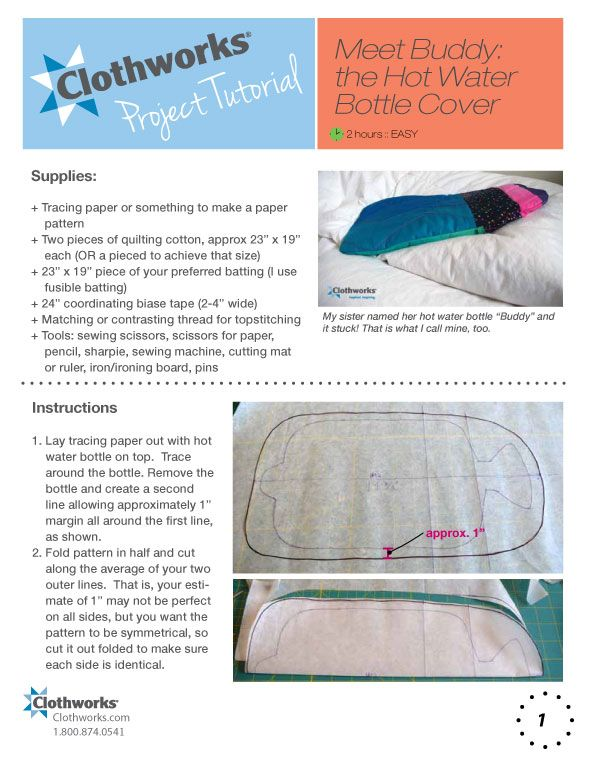 Hot water bottle cover-sewing pattern | Sewing & craft | Pinterest ...
