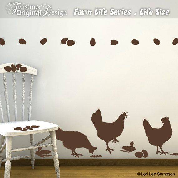Chicken Wall Decals - Kitchen Wall Decals, Farm Life Series, Farm Animal Decals, Barnyard Animals, Country Decor, Party Decorations