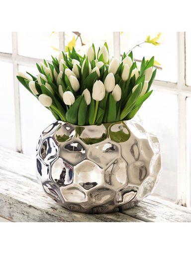 Edel und außergewöhnlich: Unser Übertopf bringt modernen Glanz in Ihre vier Wände. #Zuhause #Blumentopf #Silber
