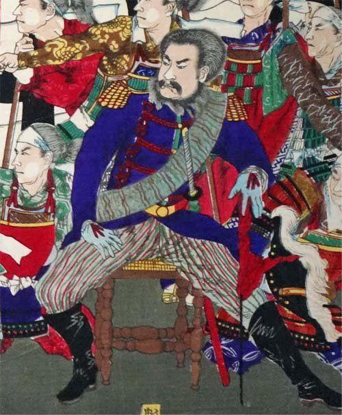 西郷隆盛は浮世絵に頻繁に描かれています。中でも多いのが西南戦争を題材とした浮世絵。左は光線画の名手・小林清親が描いた西郷隆盛です