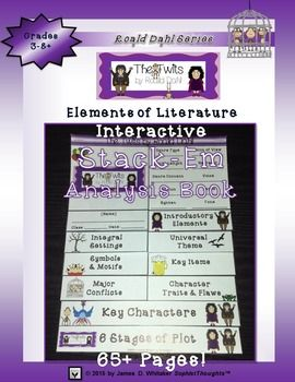 The Twits Interactive Stack-Em Analysis Book Grades 3-8+--65+ Pages! Product Overview/Preface: Explore the Characters and Elements of Literature in Roald Dahl's classic children's novel The Twits. Includes numerous templates and activities for Character, Setting, Conflict, Plot, Symbolism, and Theme Analysis+ Much More!