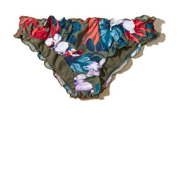 Hollister Patterned Ruffle Cheeky Swim Bottom ($17) ❤ liked on Polyvore featuring swimwear, bikinis, bikini bottoms, olive floral, ruched bikini bottom, scrunch bikini, scrunch bikini bottoms, olive bikini and flounce bikini