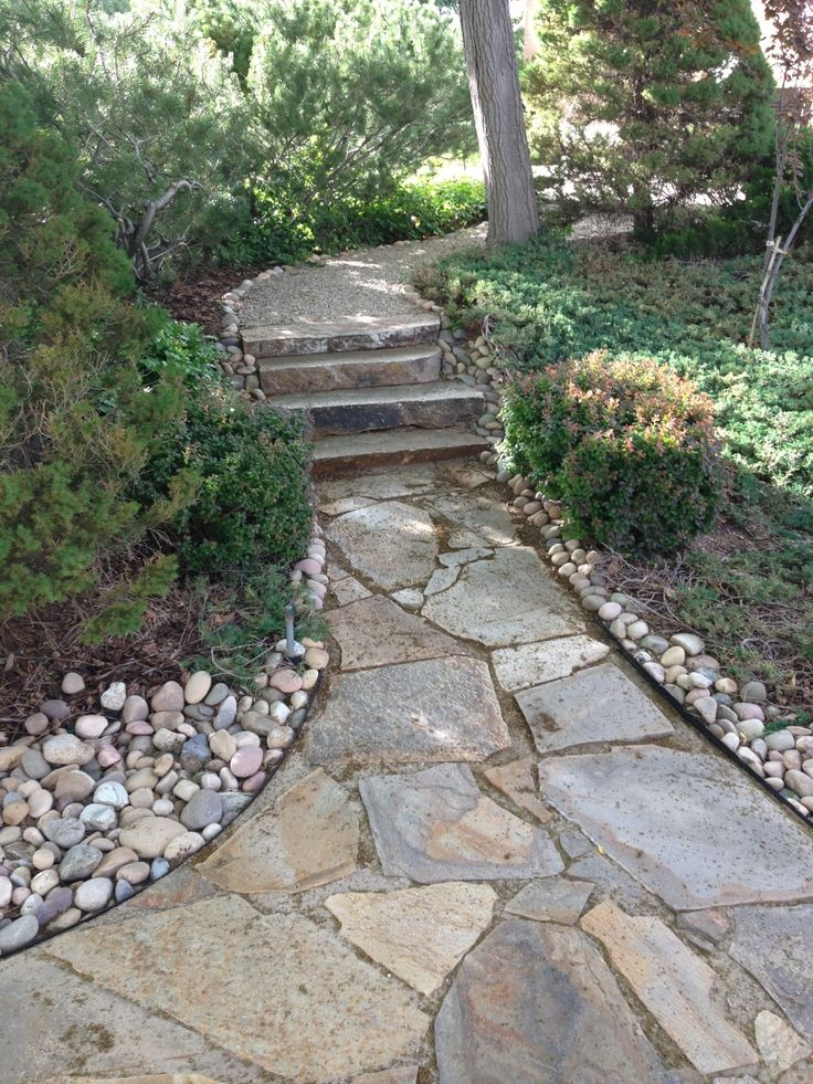 Flagstone edged with larger River rock. Pretty¡