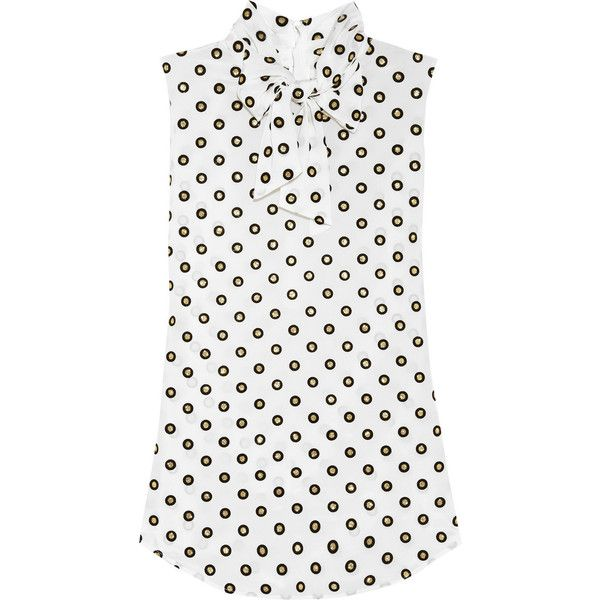 Moschino Polka-dot silk-crepe blouse (20.110 RUB) ❤ liked on Polyvore featuring tops, blouses, shirts, moschino, white, pussy bow blouse, white blouse, white shirt, white tie neck blouse and moschino shirt