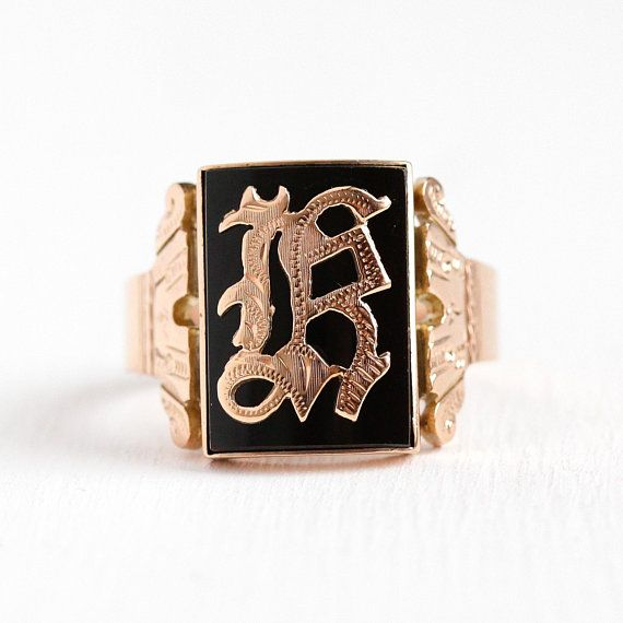 Handsome Mens Antique 10k Rose Gold Initial K Black Onyx Signet Ring This Ring Contains A Rectangular Genui Antique Mens Jewelry Pretty Rings Onyx Signet Ring