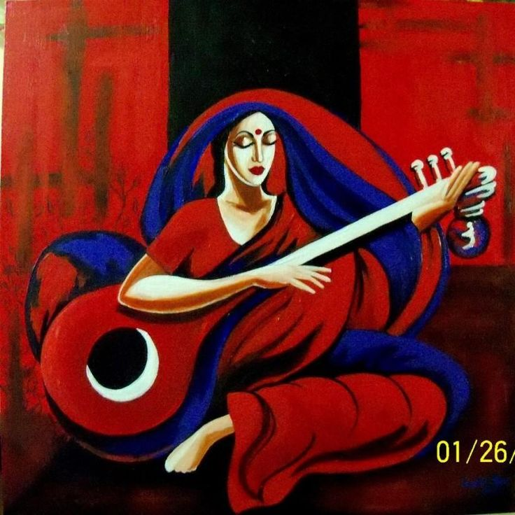 Red Muse - Painting by Tallita Tyagi in Tallitas Studio at touchtalent
