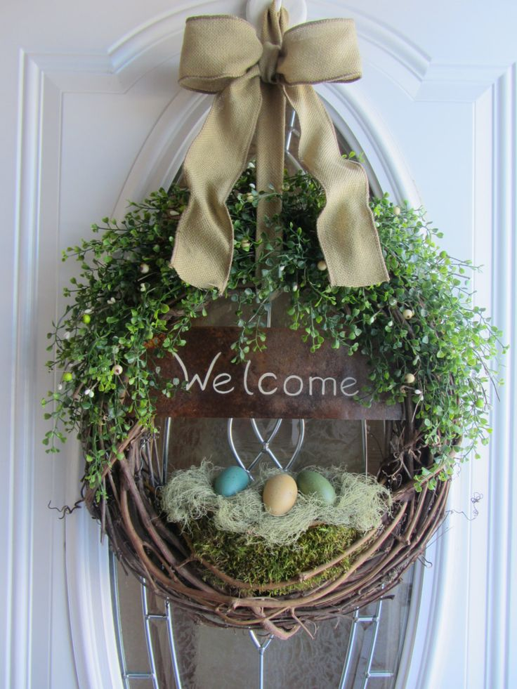 spring door wreath easter wreath welcome wreath spring decor spring the nest and eggs. Black Bedroom Furniture Sets. Home Design Ideas