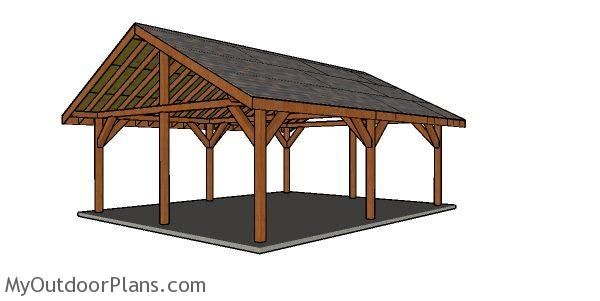 20x24 Pavilion Free Diy Plans Myoutdoorplans Free Woodworking Plans And Projects Diy Shed Wooden Playhouse Diy Shed Outdoor Pavilion Backyard Pavilion