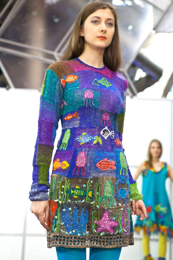 Knitted summer dress SEA COCKTAIL short evening by annalesnikova, $2500.00