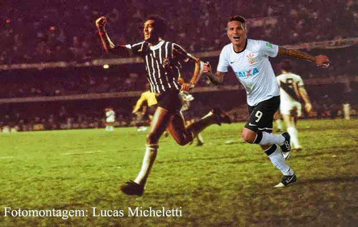 Para finalizar, fusão das imagens de Basílio (1977) e Guerrero (2012), comemorando os gols mais importantes da história do Corinthians, o Paulista e o Mundial, respectivamente. Fotomontagem de Lucas Micheletti