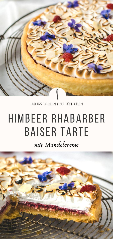 Himbeer Rhabarber Tarte Mit Mandelcreme In 2020 Rhabarber Einfacher Nachtisch Himbeeren