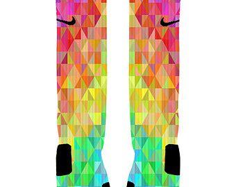 Custom Basketball is Life Socks Rainbow Chevron by ShopElevateGear