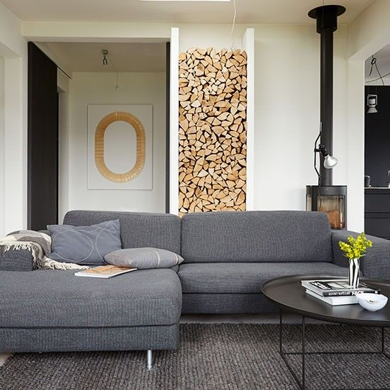 Modern living room with grey sofas | Decorating