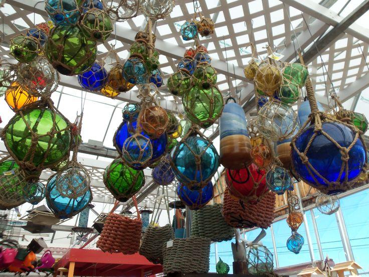 These glass floats were in Nova Scotia