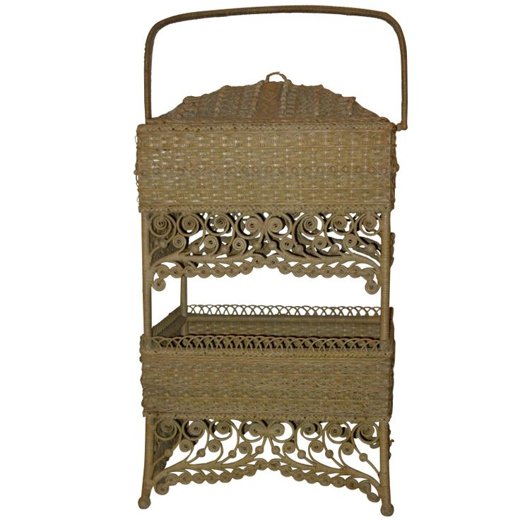Natural Wicker Sewing Basket, In An Elaborate Design, Original And Never  Painted. USA