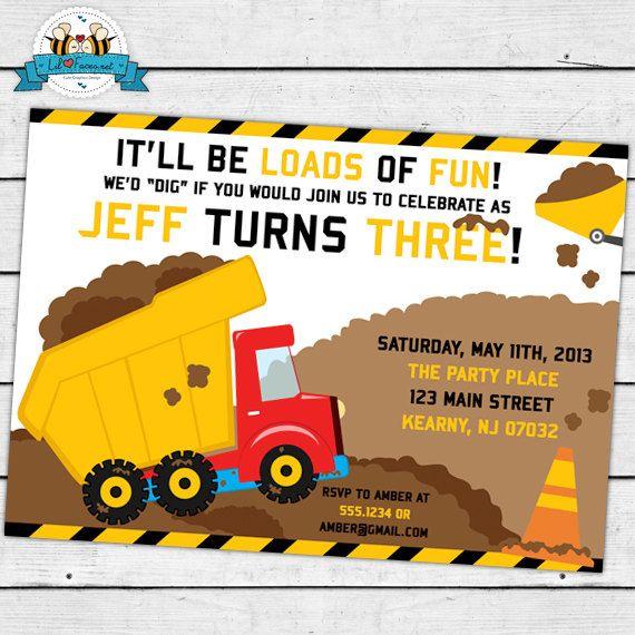 dump truck construction birthday party invitation invite card