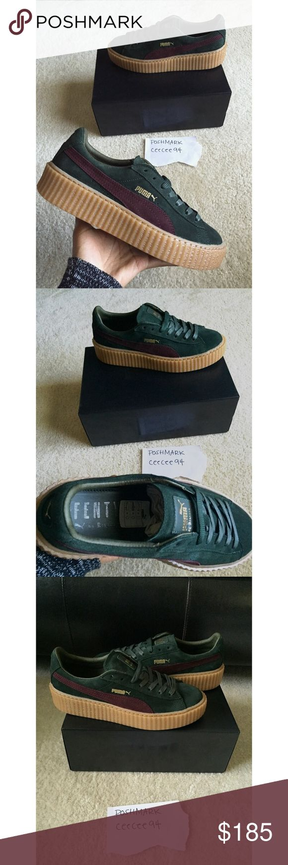 PUMA SUEDE CREEPER BORDEAUX GREEN WMNS 10 CREEPERS • Item: Puma Suede Creeper Bordeaux • Size: Womens 10 or Mens 8.5 • Reason for selling: Not my size. I normally wear a 9.5, so they were a bit too big. Bought a size 9.5 and they fit perfectly • Purchased from: Zappos • Condition: Brand New with Box • No trades • Price is firm • Happy Shopping!  **Re-listing this same item from a previous listing due to the buyer's lack of verification.** Puma Shoes Sneakers