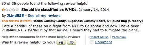 Hilarious reviews of Haribo Sugarless Gummy Bears had me laughing well after I finished reading