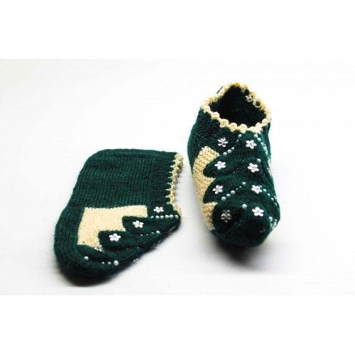 El Örgüsü Yün Patik - Yeşil İşlemeli - Örgü - Kadın Giyim - Patik - Çorap - Sanatkardan