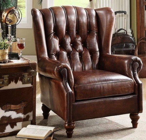 Brown leather armchair armchair Chesterfield Cowhide Side