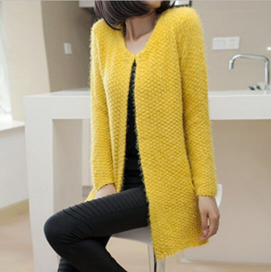New 2015 Fashion Sweaters Open Stitch Full Regular Sleeve Solid O-Neck Long Casual Cardigans Cothes Women Sweaters
