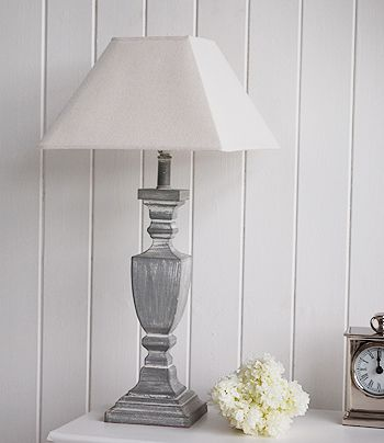 Grey and white shabby chic table lamp. Home accessories from The White Lighthouse
