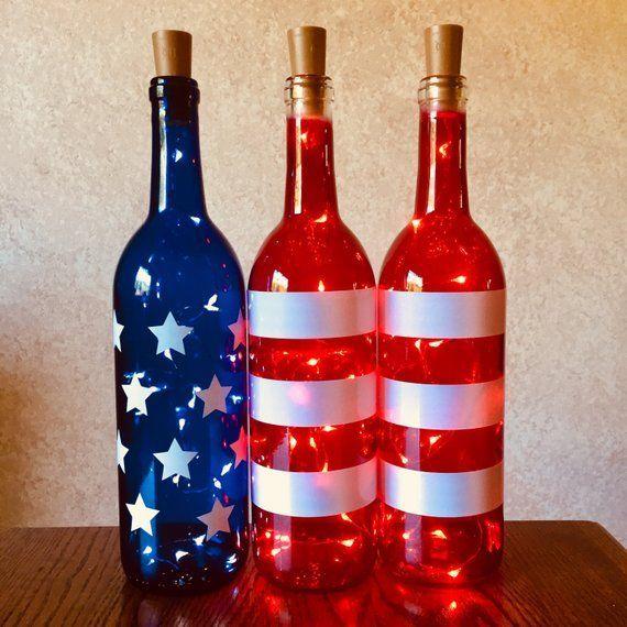 Decoupage Weinflasche
