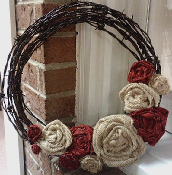 Barbed wire wreath with burlap flowers by BarbedWireandBurlap: