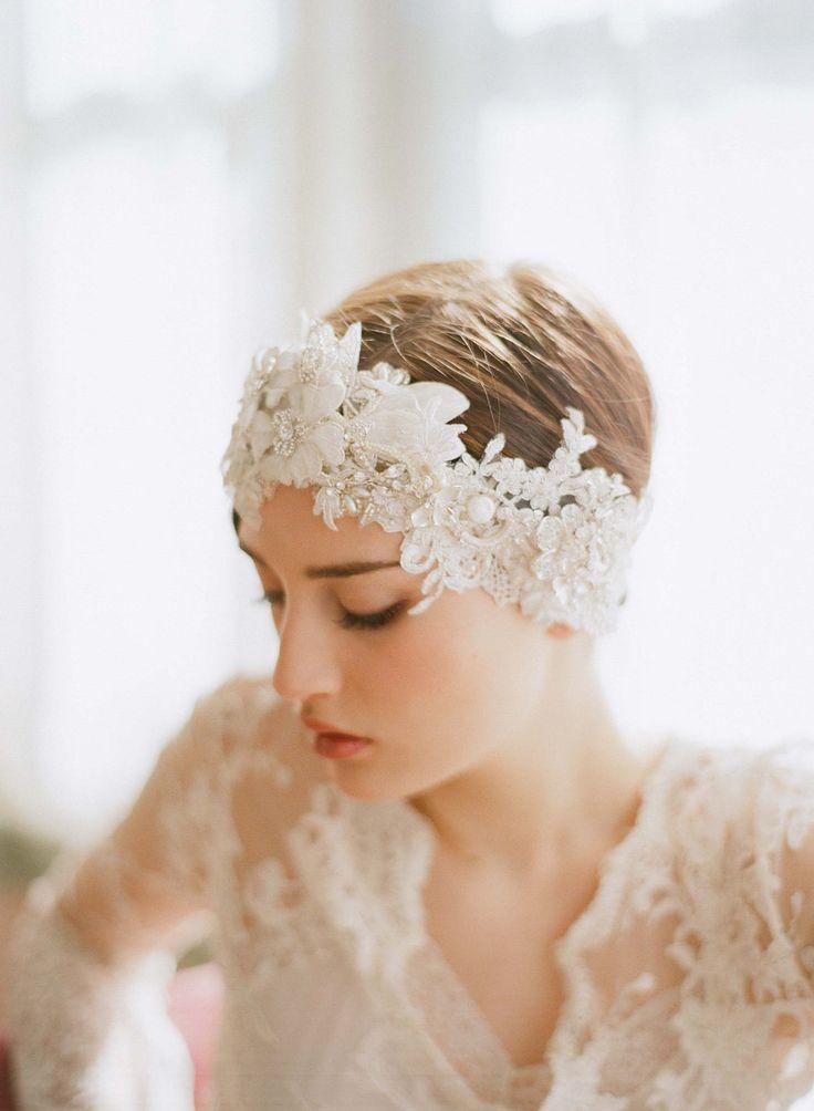 Bridal headpiece, lace and crystal headband