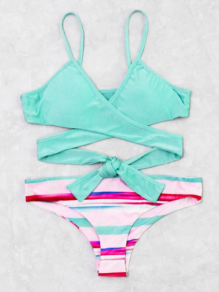 Shop Block Striped Mix & Match Wrap Bikini Set online. SheIn offers Block Stripe…