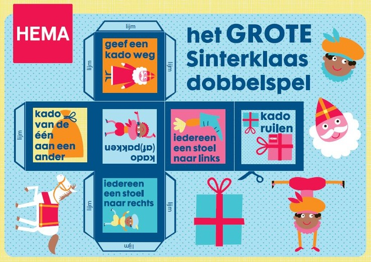 Department store HEMA sells fabric Sinterklaas game dice yearly, which are so popular that they are sold out within a day or so. That is why HEMA website lets you print a paper version. Check their website for the game rules!