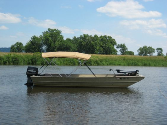 Bimini Tops are available for all sizes and styles of boats. Here's an aluminum Jon boat with a Bimini top from BoatCoversDirect.com.