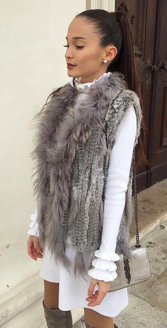 #winter #fashion /  Faux Fur Vest + White Top & Skirt