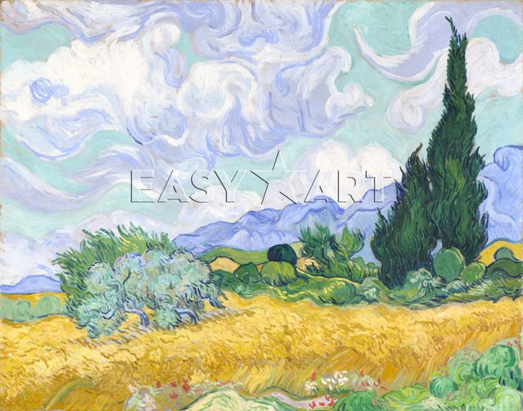 A Wheatfield, with Cypresses print