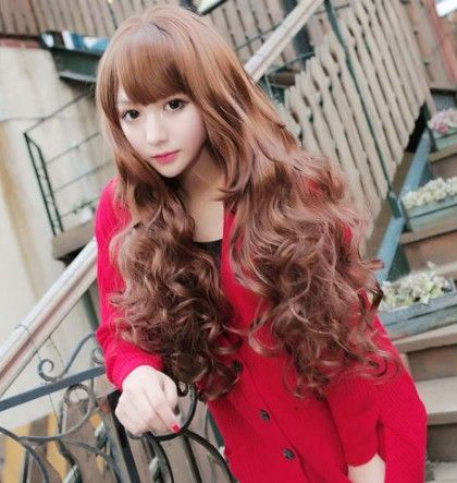 Scroll Fluffy Wig Wig Fashion Female Models Big Wave Of Japanese Girls Long  Curly Hair Wig Non Mainstream ZZKKO