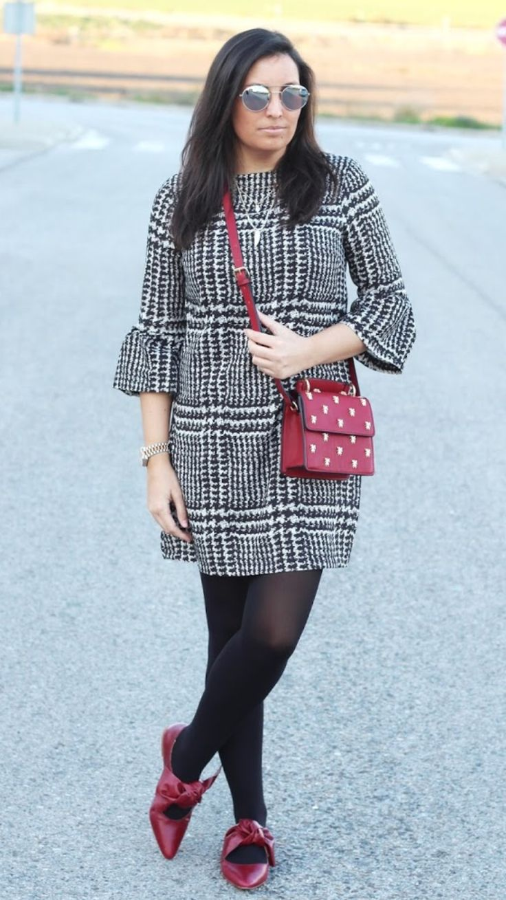 """HOUNDSTOOTH DRESS -  As first seen on blog """"Simply 2 Wear"""" here: HOUNDSTOOTH DRESS  She is wearing tights similar here: Black Opaque Tights Thick warm opaque tights that take your wardrobe through any weather are topped with a waistband that fits smoothly without digging in for an exceptionally comfortable line-free look.  #tights #pantyhose #hosiery #nylons #tightslover #pantyhoselover #nylonlover #legs"""