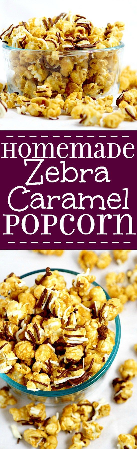 Make your own Homemade Zebra Caramel Popcorn recipe for an easy and sweet snack, treat, or gift idea with warm, sweet oven baked caramel corn, drizzled in milk chocolate and white chocolate for a to-die-for treat. (Snack Mix For Kids)